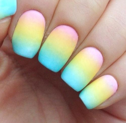 Rainbow Color Matte Ombre Nail Art