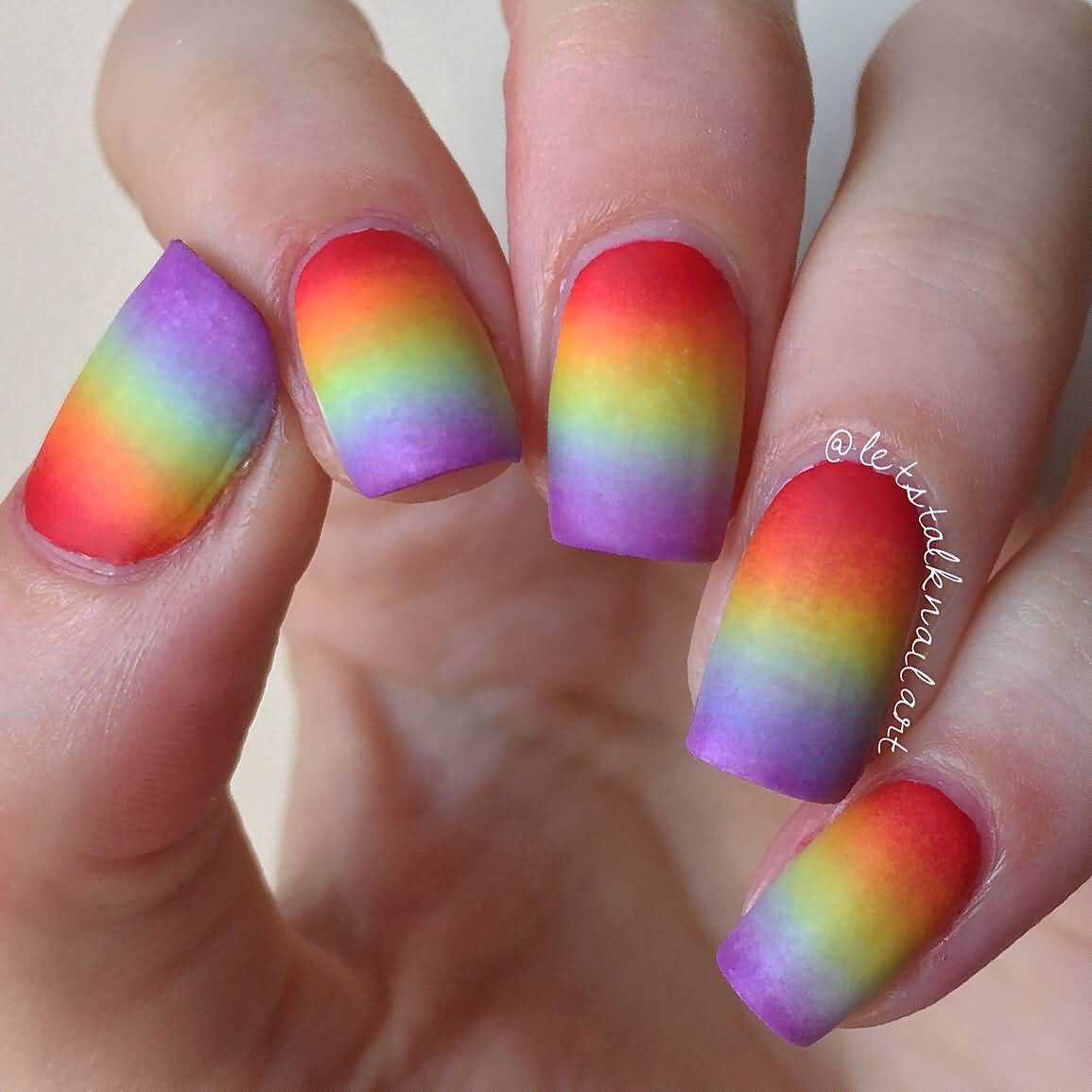 Rainbow Nail Art Designs: 17+ Adorable Rainbow Ombre Nail Art Design Ideas