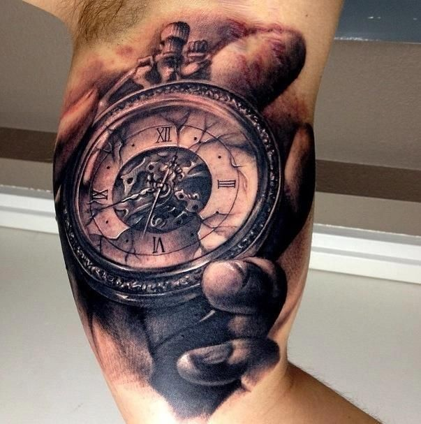 fb81852f4 Realistic Broken Clock On Bicep Tattoo For Men