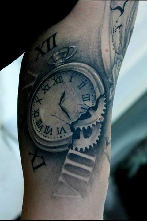 34 incredible broken clock tattoos. Black Bedroom Furniture Sets. Home Design Ideas