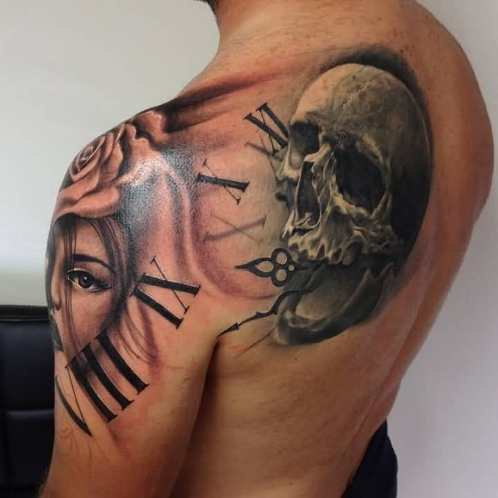 36ef1fc67 Realistic Skull And Roman Numerals Clock Tattoo On Left Back Shoulder For  Men