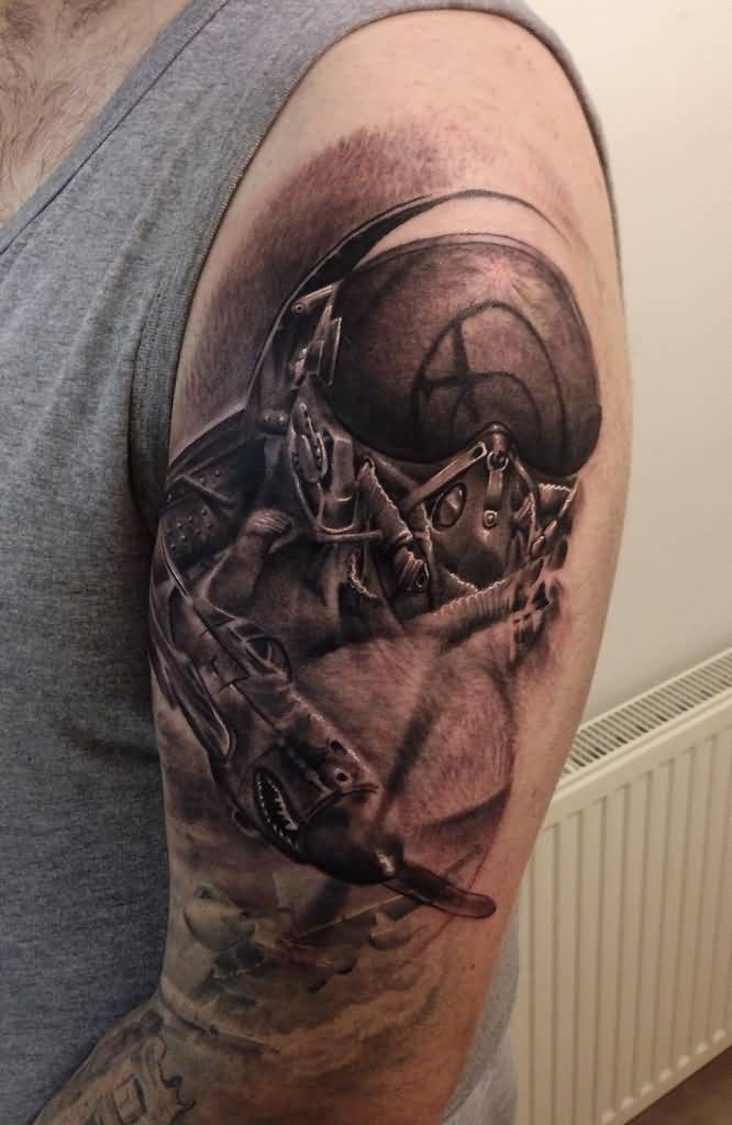 Realistic Spitfire Tattoo On Left Half Sleeve