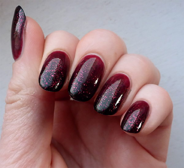 51 beautiful black ombre nail art design pictures red and black sparkle gel ombre nail art prinsesfo Gallery