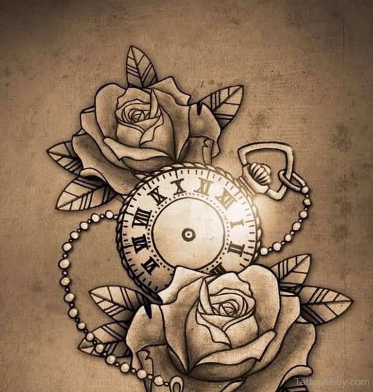 Rose Flowers And Clock Tattoo Design Sample