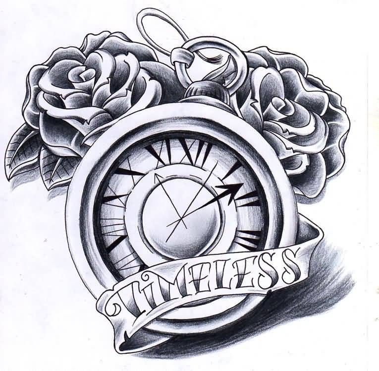Rose Flowers And Timeless Banner With Clock Tattoo Design