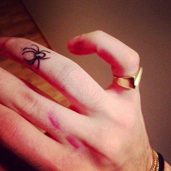 small outline arachnids tattoo on finger. Black Bedroom Furniture Sets. Home Design Ideas