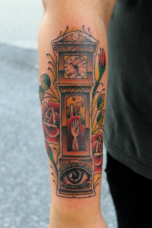37+ Unique Grandfather Clock Tattoos
