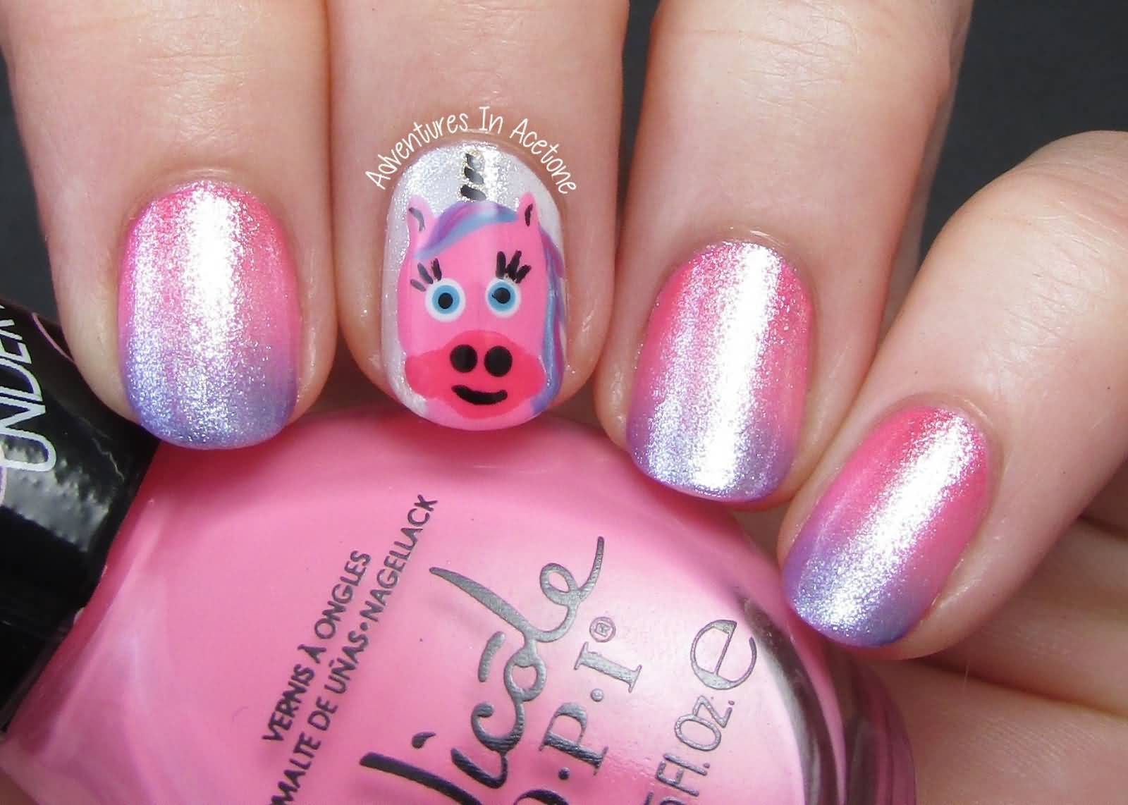 Unicorn Accent Nail Art Design