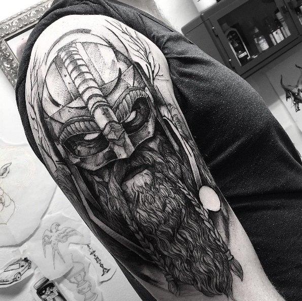 Viking warrior tattoo on right half sleeve by fredao oliveira for Viking sleeve tattoos