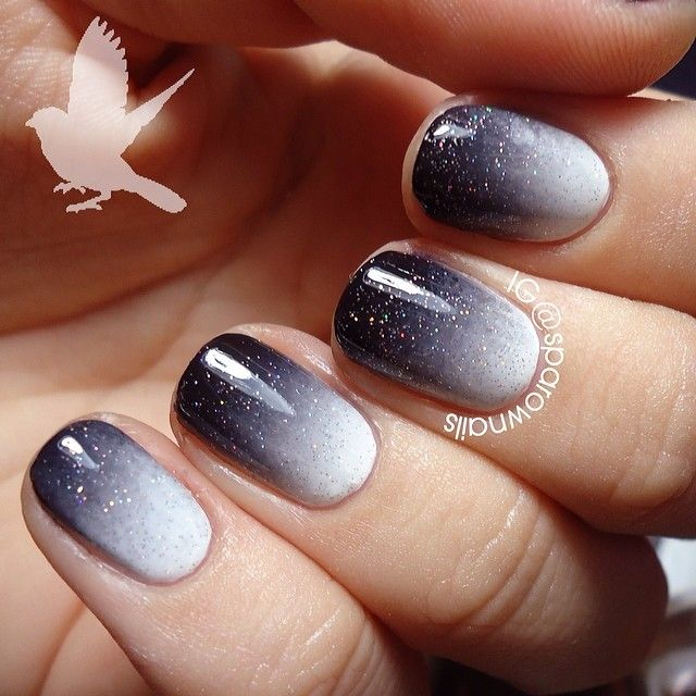 51 beautiful black ombre nail art design pictures white and black sparkle ombre nail art design prinsesfo Image collections