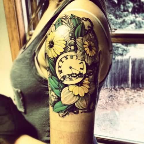 32 beautiful clock tattoos for girls for Clock tattoo half sleeve