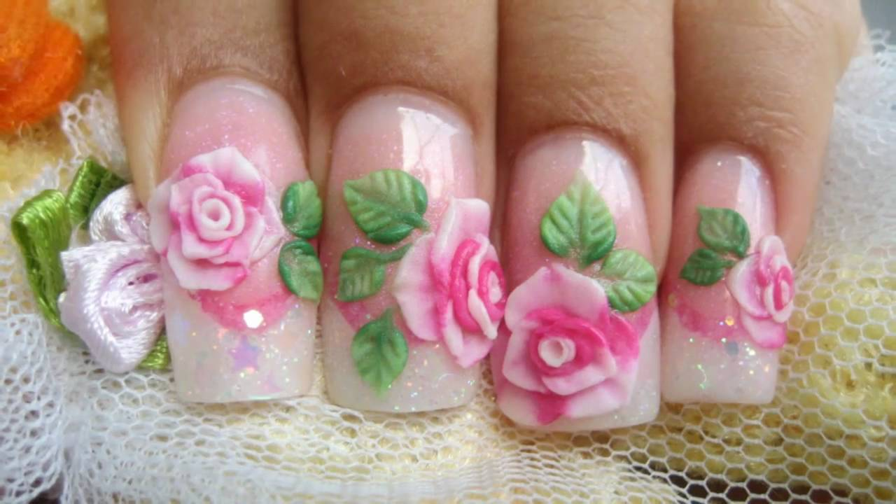 Acrylic Roses Flower Nail Art Design