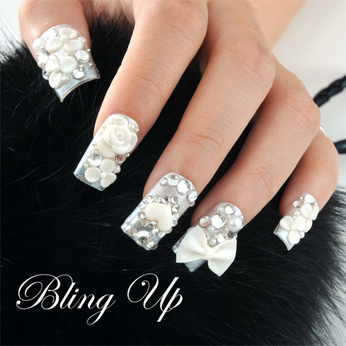 3d Bow And Flower Nail Art