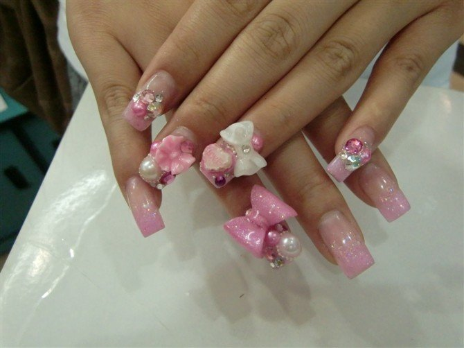 51 very beautiful 3d flowers nail art designs 3d bows and flowers nail design prinsesfo Image collections