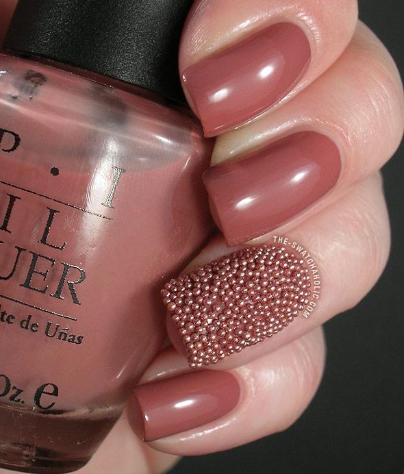 Accent Brown Caviar Nail Art Design