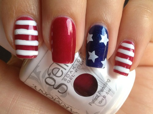 Acrylic Blue And Red Fourth Of July Nail Art Idea