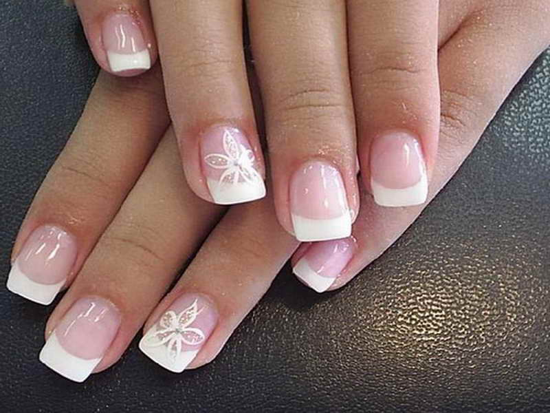 55 most stylish flower nail art design ideas acrylic cute white flower nail art with french tip prinsesfo Image collections