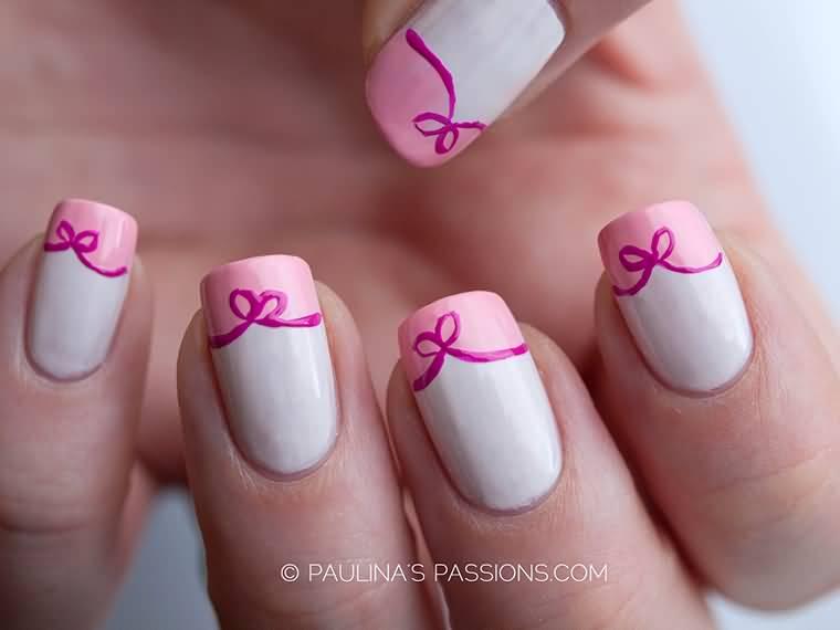 Acrylic Cute Bows Nail Art