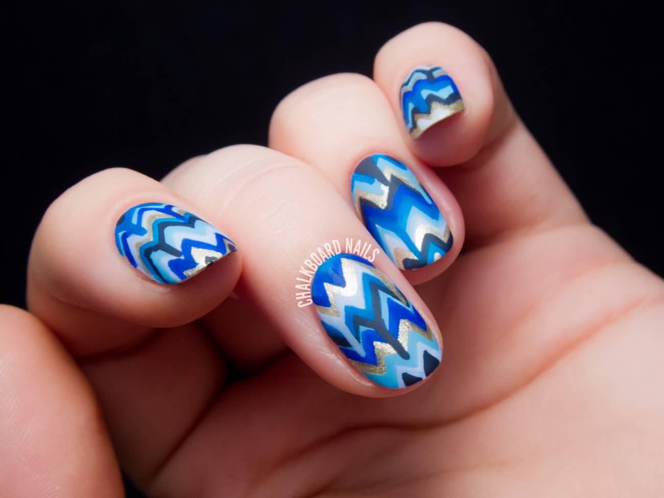 Adorable Blue Dripping Chevron Nail Art