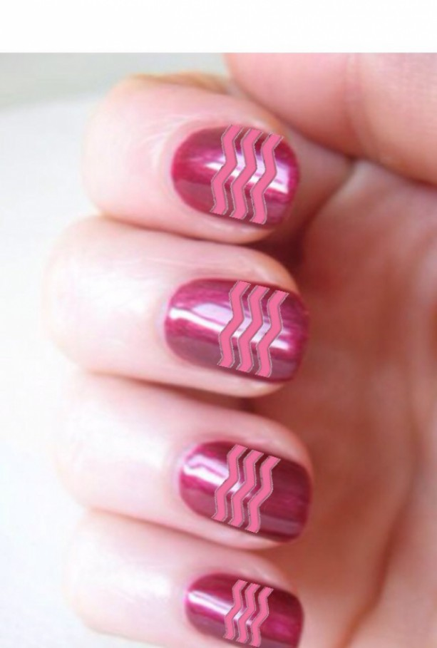 Pink And Gold Glitter Heart And Chevron Design Nail Art