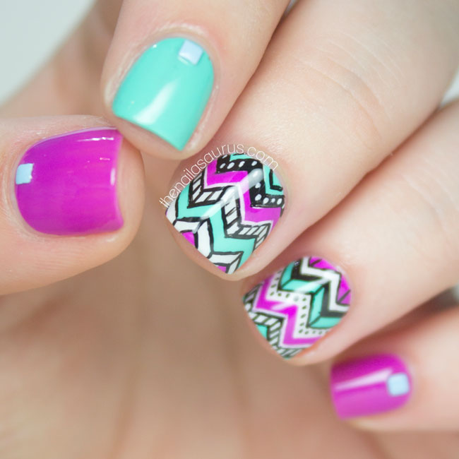 Adorable tribal chevron nail art design prinsesfo Image collections