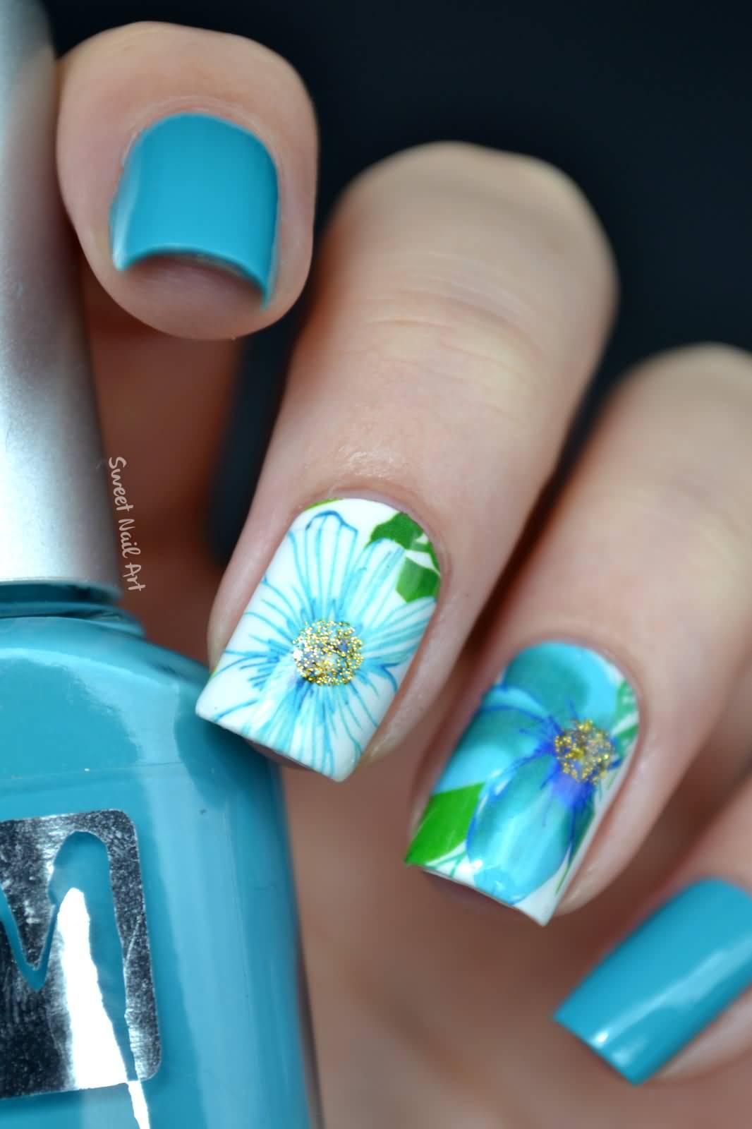 55 Most Stylish Flower Nail Art Design Ideas