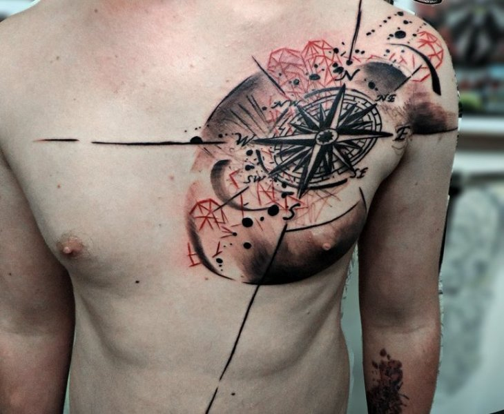 Amazing Compass Tattoo On Man Chest