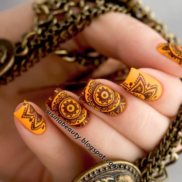 Amazing tribal flowers nail art ideas prinsesfo Image collections