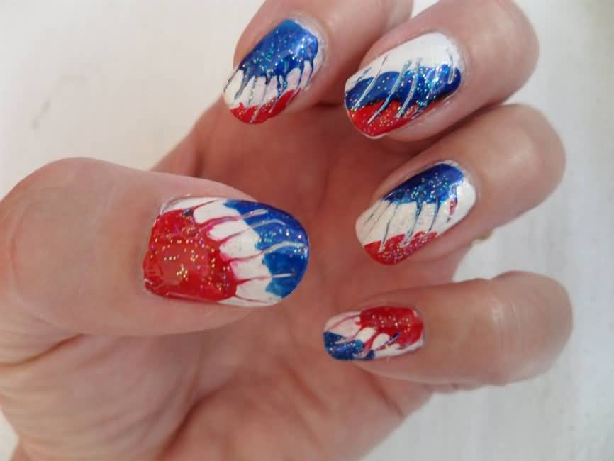 American Flag Butterfly Wings Fourth Of July Nail Art
