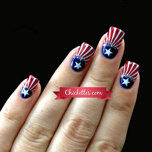 Balloons uncle sam hat fireworks and heart nail art designs for american flag design fourth of july nail art prinsesfo Gallery