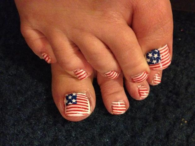 American flag fourth of july nail art for toe prinsesfo Gallery