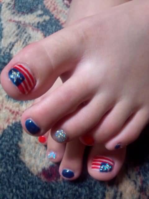 Flag Design Ideas flag design American Flag Fourth Of July Nail Design Idea For Toe