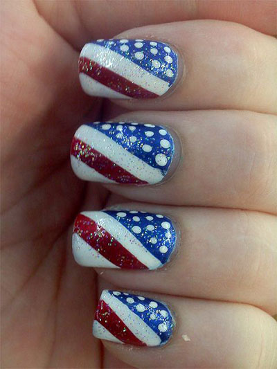 American Flag Glitter Fourth Of July Nail Art