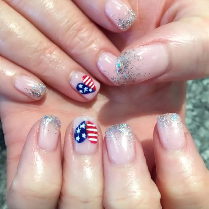 American Flag Heart With Silver Sparkle Fourth Of July Nail Art