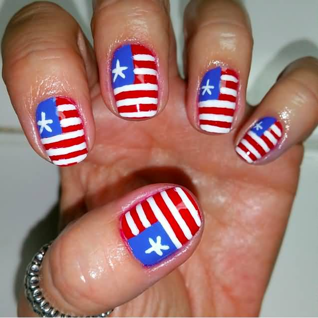 American Flag Nail Art Design For Fourth Of July - 55+ Most Stylish Fourth Of July Nail Art Designs