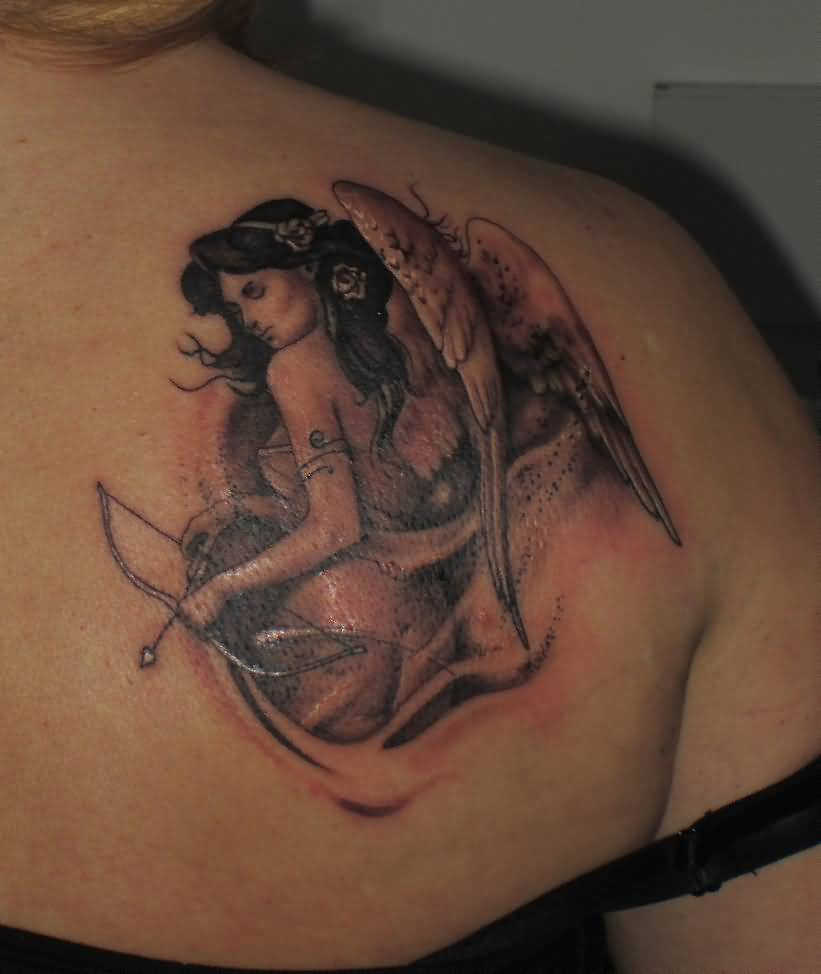 e26f6eda9 Angel Girl Wings With Bow And Arrow Tattoo On Back Shoulder