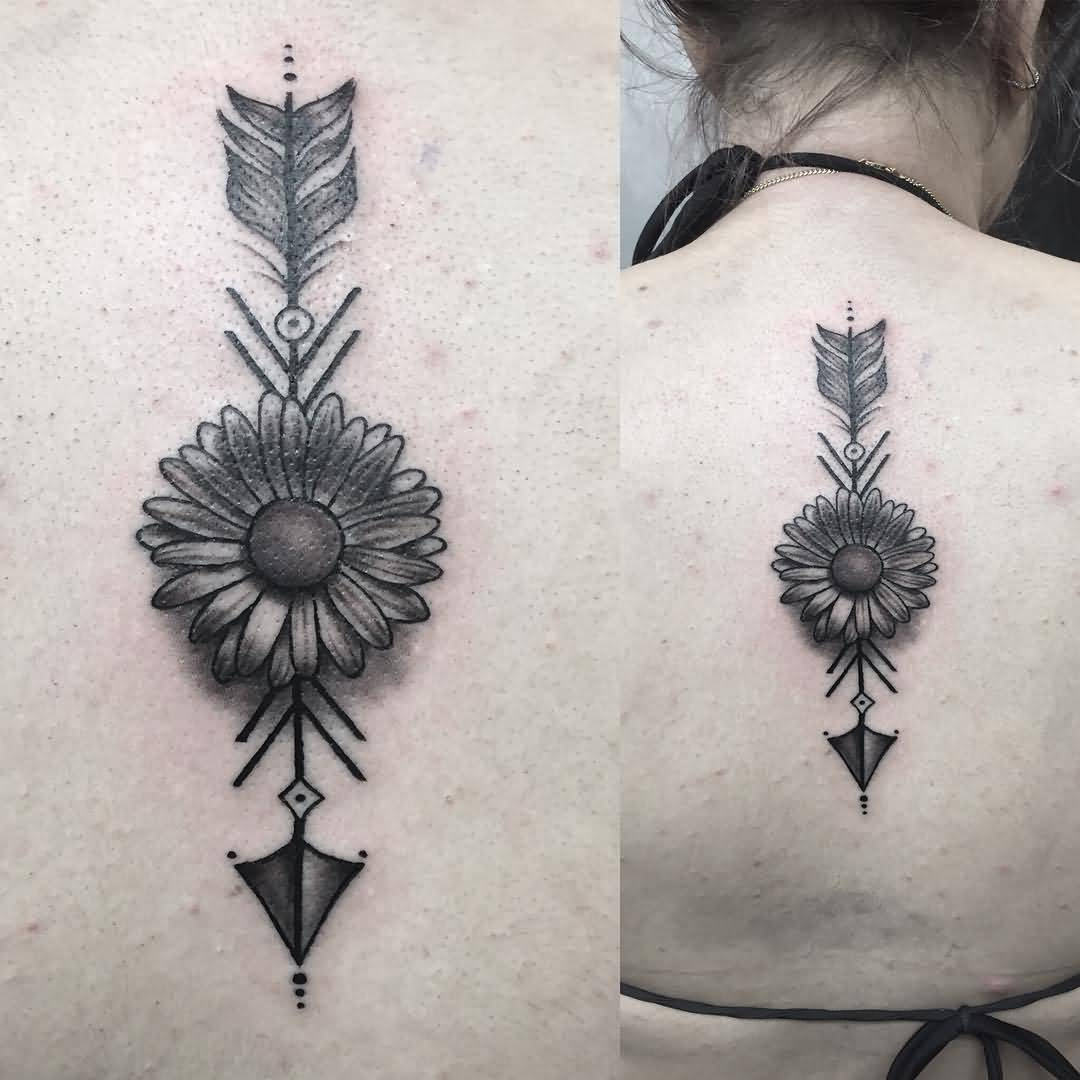 8 Arrow Tattoos On Upper Back