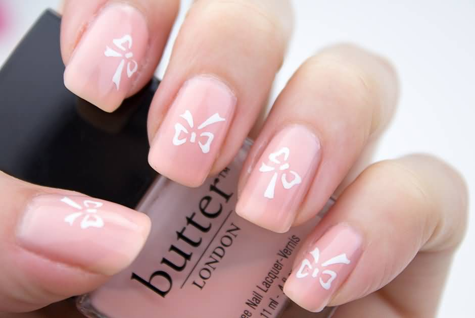 42 beautiful bow nail art design ideas for girls baby pink nails with white bow nail art design prinsesfo Images