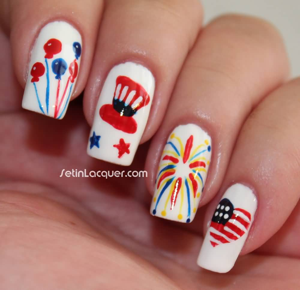 Balloons, Uncle Sam Hat, Fireworks And Heart Nail Art Designs For ...