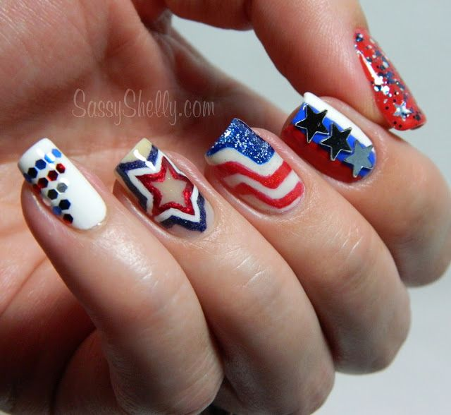 Beautiful American Flag Design Fourth Of July Nail Art