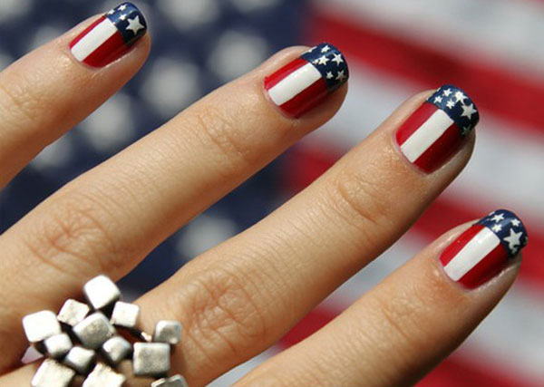 Beautiful American Flag Fourth Of July Nail Art