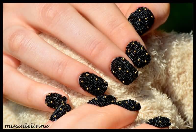 Beautiful Black Caviar Nail Art Design