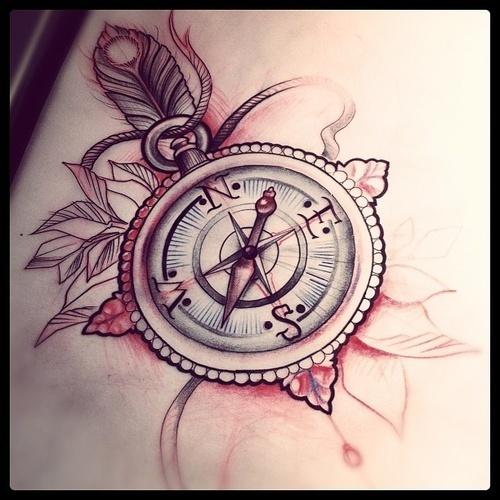 Beautiful Compass Tattoo Design
