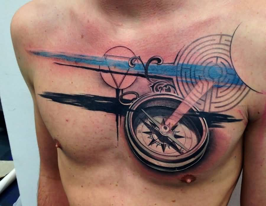 Beautiful Compass Tattoo On Man Chest