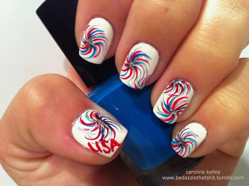 25 Very Beautiful Fourth Of July Fireworks Nail Art Designs