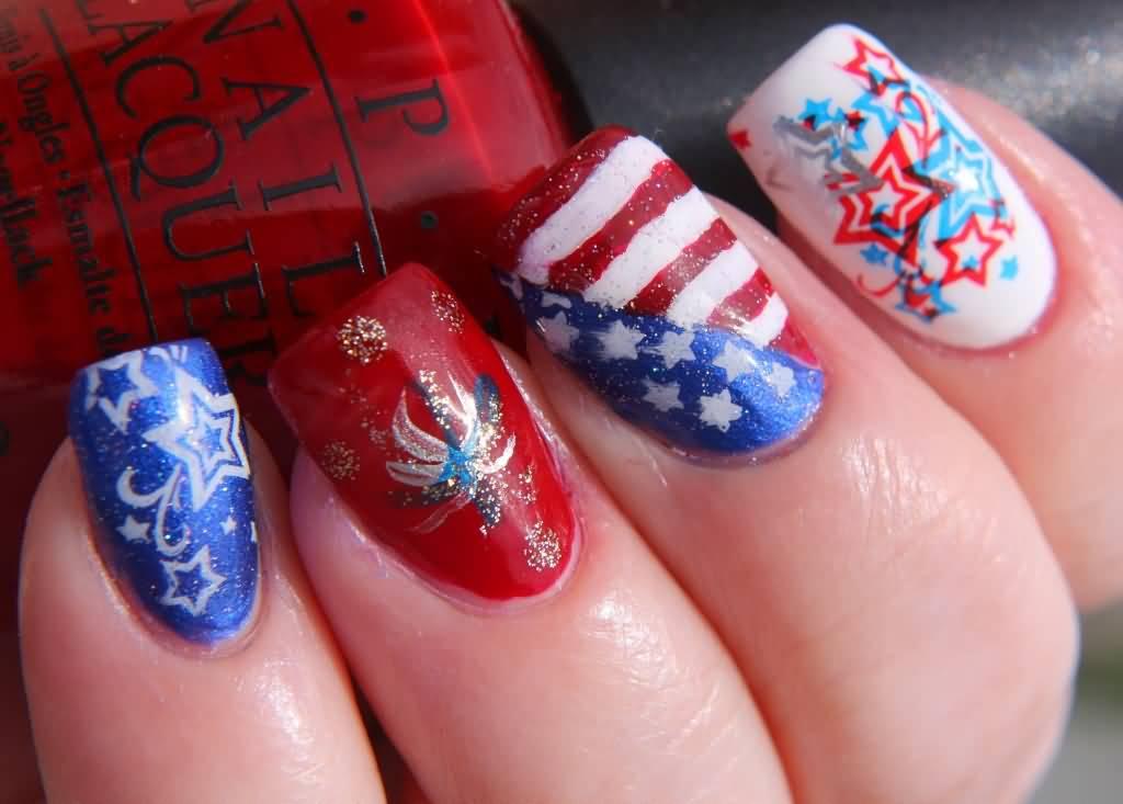 Beautiful Fourth Of July Nail Art Design Idea