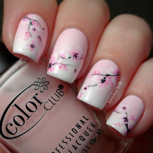 Beautiful pink flowers nail art design prinsesfo Images