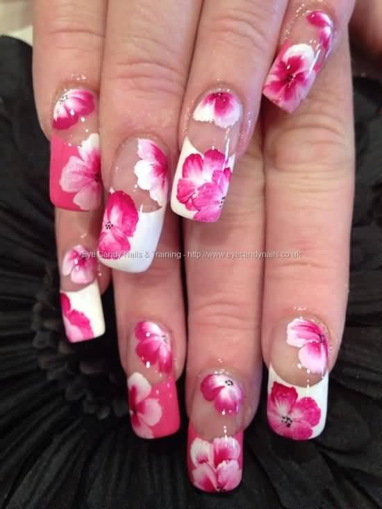 55 most beautiful flowers nail art design ideas beautiful pink flowers nail art with white french tip design prinsesfo Choice Image