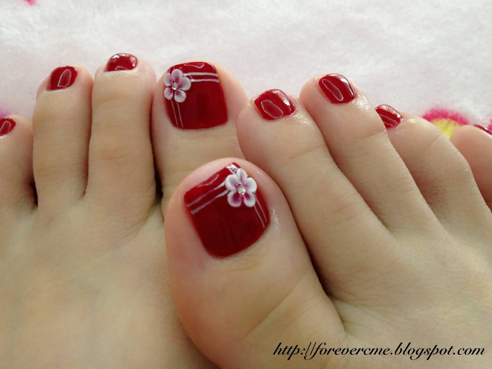 50 most beautiful and stylish flower toe nail art design ideas beautiful red toe nails with white 3d flower nail art prinsesfo Choice Image