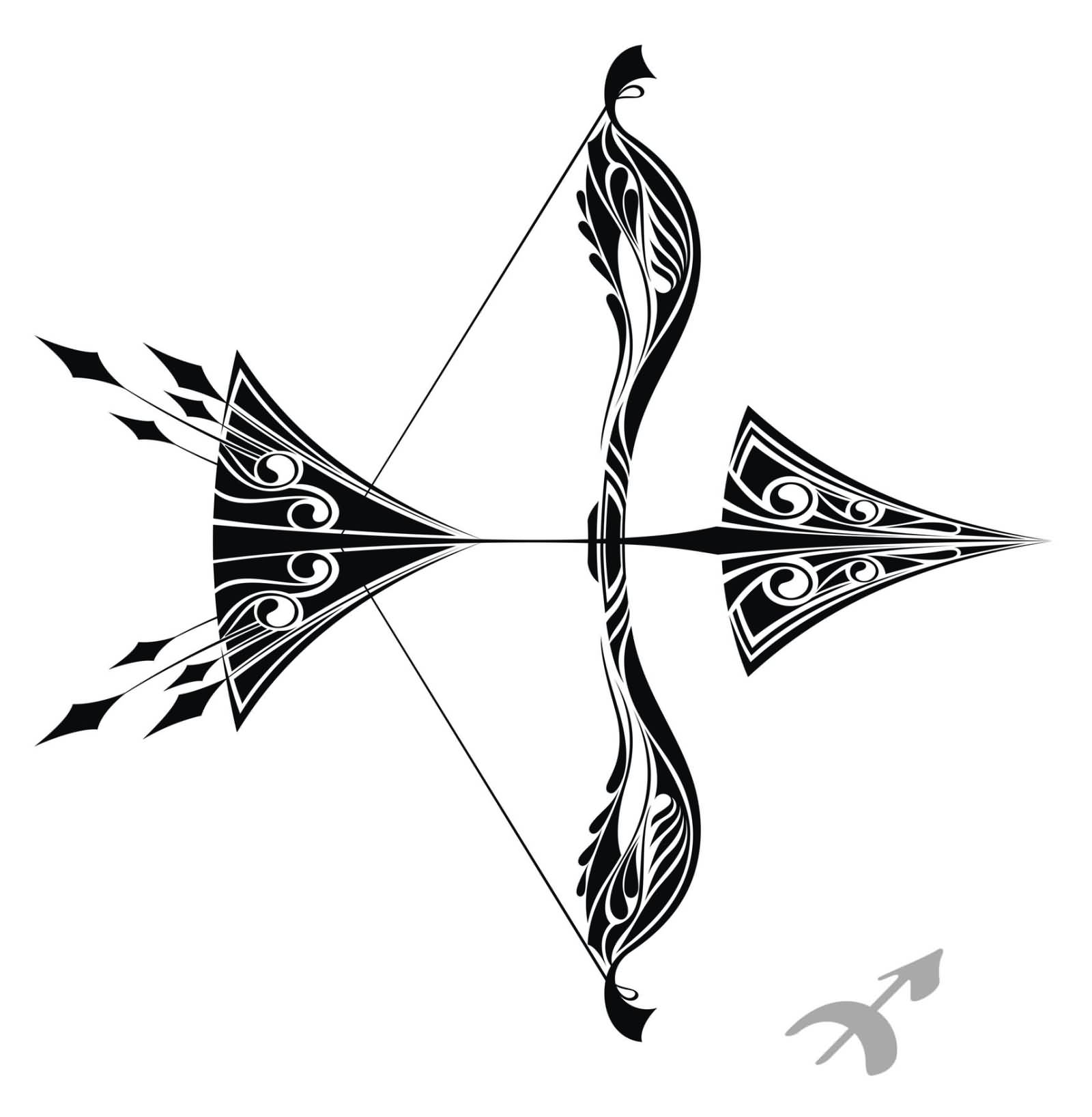 Tribal Bow And Arrow Tattoo